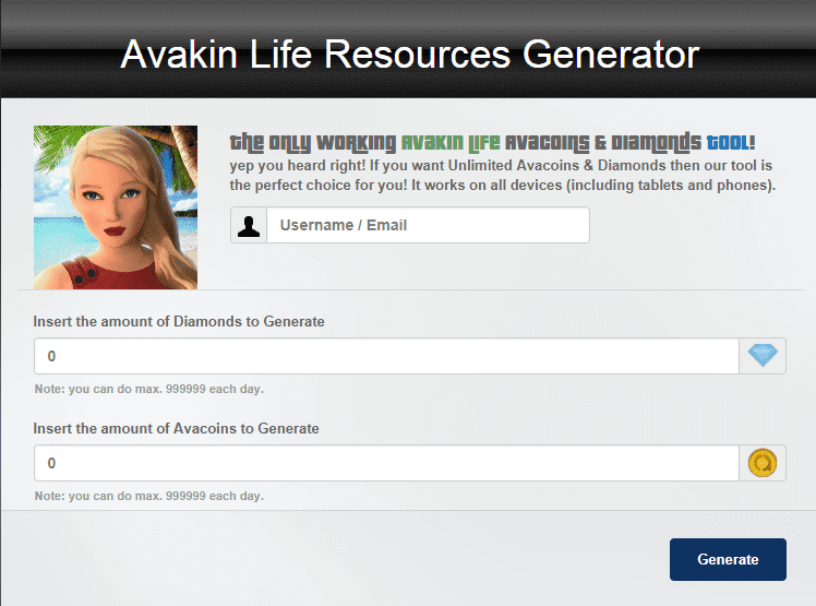 Avakinlife Progenerator for avacoins and diamonds generator online